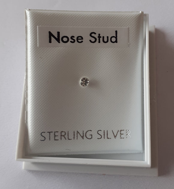 Sterling Silver Diamond Nose Stud