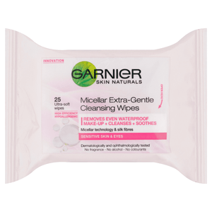 Garnier Micellar Extra Gentle Cleansing Wipes x25 | LA Image