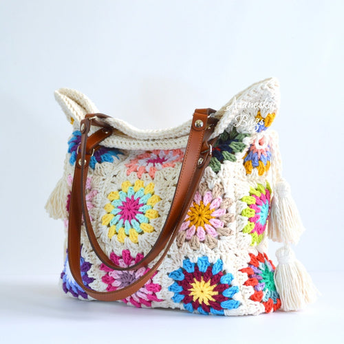 Crochet Granny Squares Floral Tassel Tote Bag Purse Shoulder Bag | DOLORES