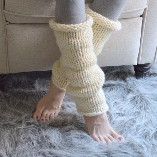 Knitted Chunky Woolen Slouched Leg Warmers | THE SNUGS