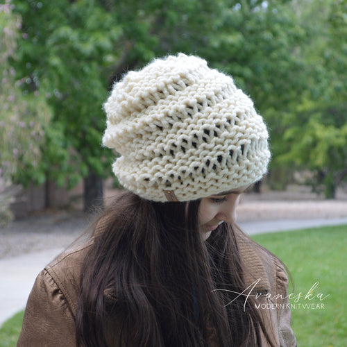 Knitted Chunky Woolen Winter Slouchy Hat Beanie Toque | THE BARLETTA