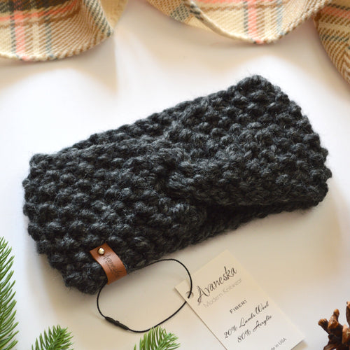 Knit Turban Twisted Ear Warmer Headband | THE ETAH