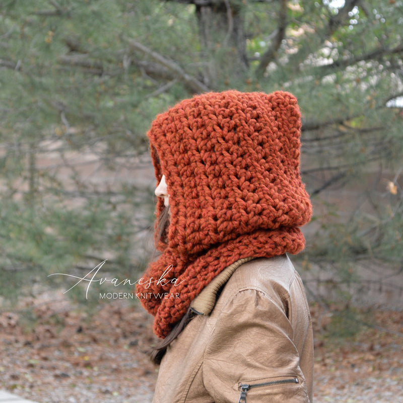Knitted Chunky Women Winter Hood Scarf | THE WELS