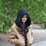 Large Knit Chunky Hood Hat with Ties | THE YORK
