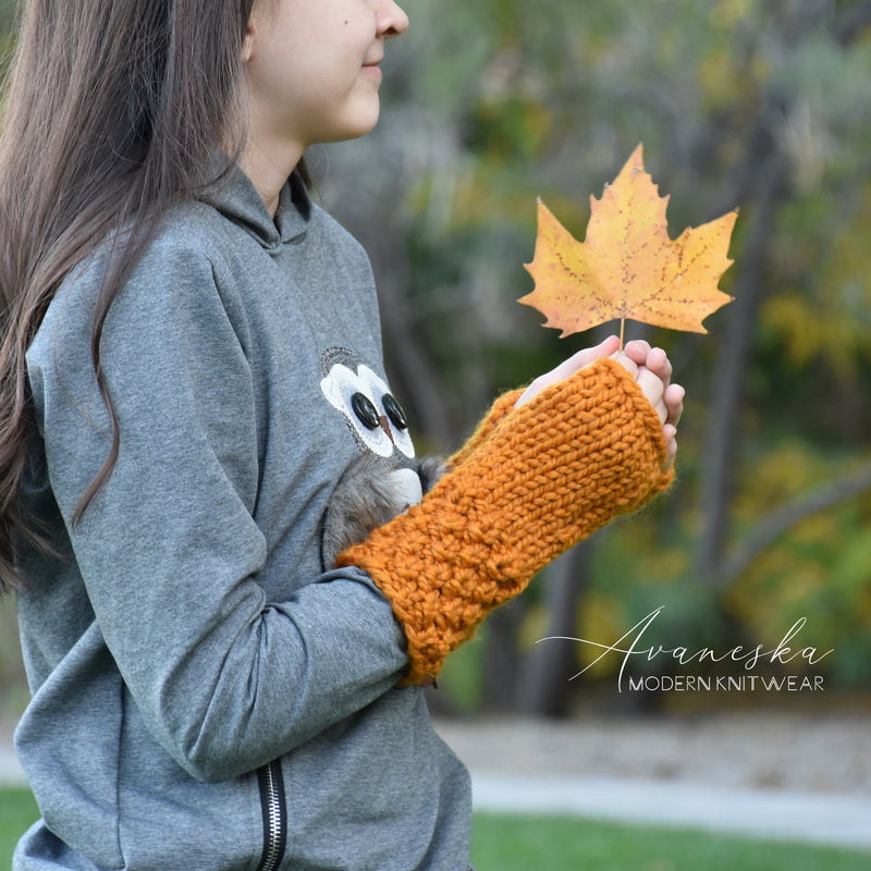 Knit Chunky Fingerless Arm Warmers Gloves | THE HALDENS