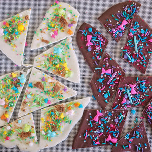 SPRINKLE CHOCOLATE SHARDS + SPRINKLE-FILLED EASTER EGGS - EASY NO-BAKE EASTER TREAT IDEAS