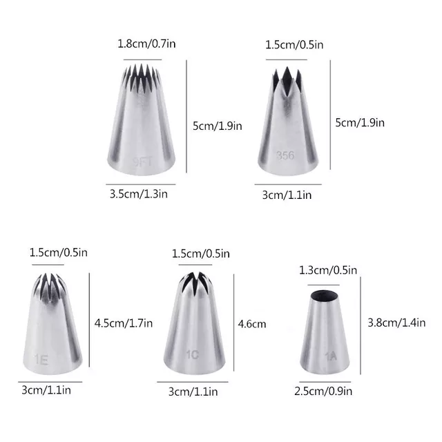 Extra Large Piping Tips Set 5pcs