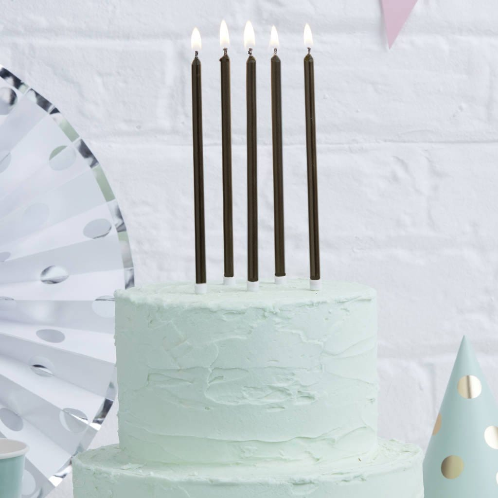 Tall Black Cake Candles 12cm