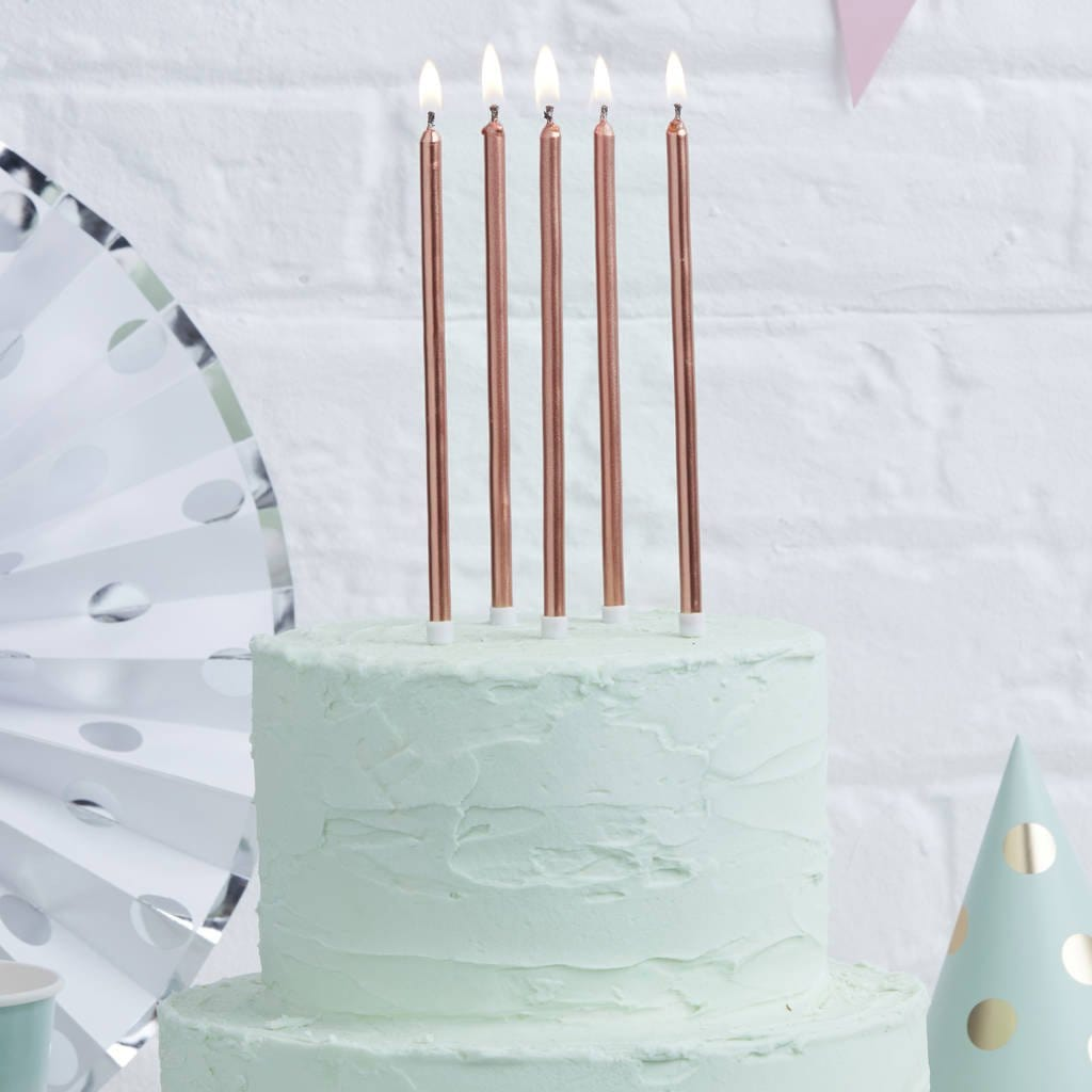 Tall Rose Gold Cake Candles 12cm
