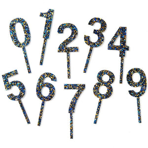 Blue Confetti Cake Topper - More numbers available