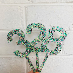 Galaxy Green Confetti Cake Topper - More numbers available