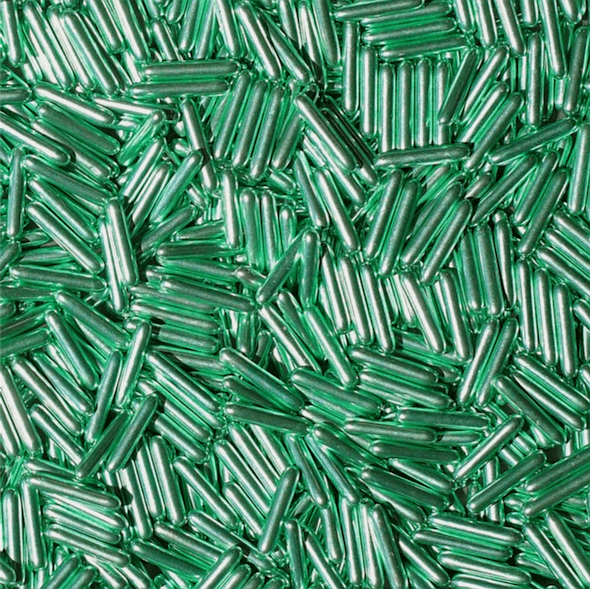 Metallic Green Rods Sprinkles