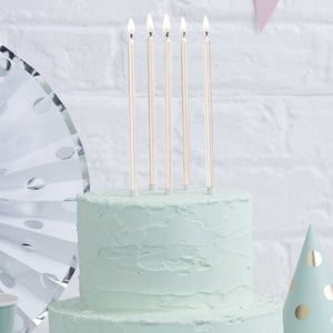 Tall Pearl White Cake Candles 12cm