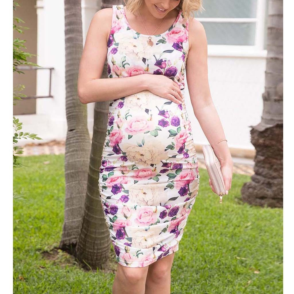 Summer Maternity Dresses Sleeveless Floral Print Tank Pregnancy Dress Nursing Breastfeeding Clothes For Pregnant Women Plus Size