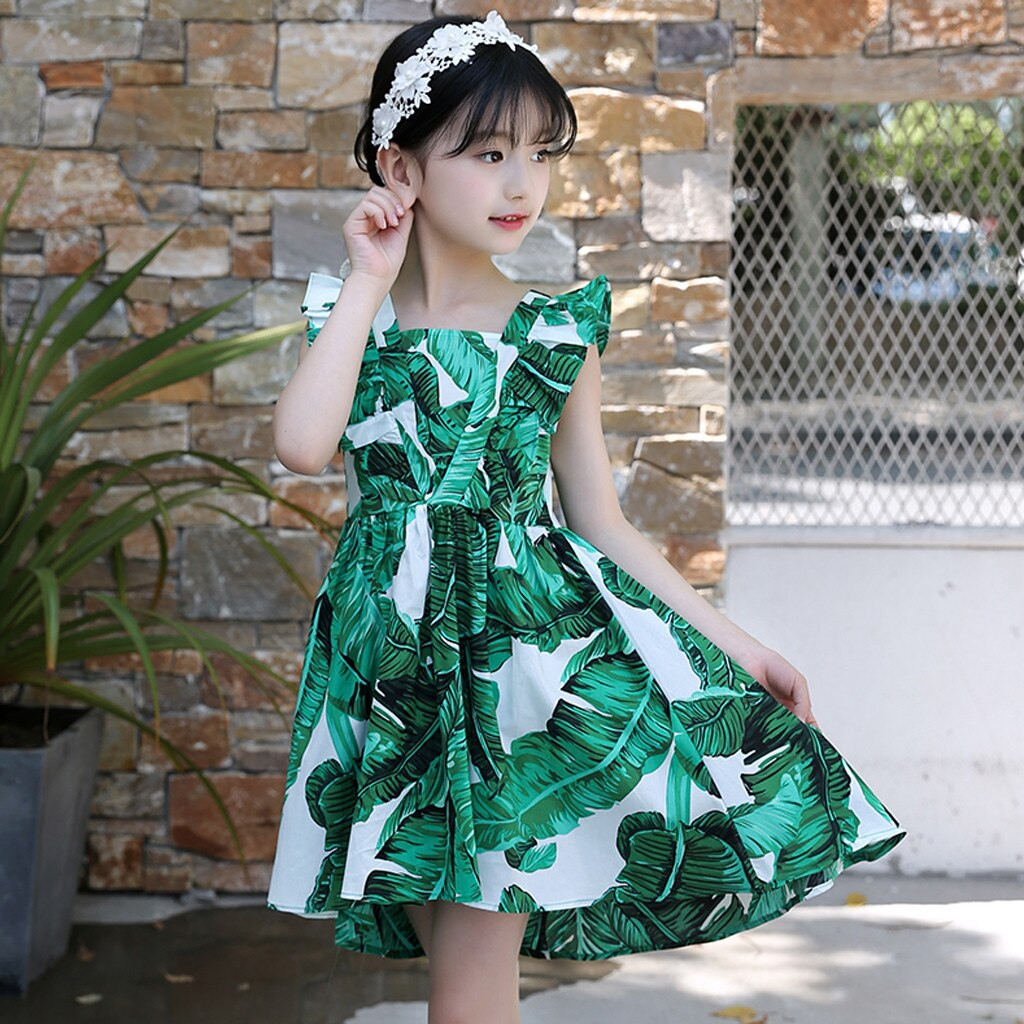 Summer Casual Girls Dress Leaf Print Dovetail Princess Beach Dresses Sleeveless Ruffled Girl Sundress Kids Clothes 3 to 12 Years