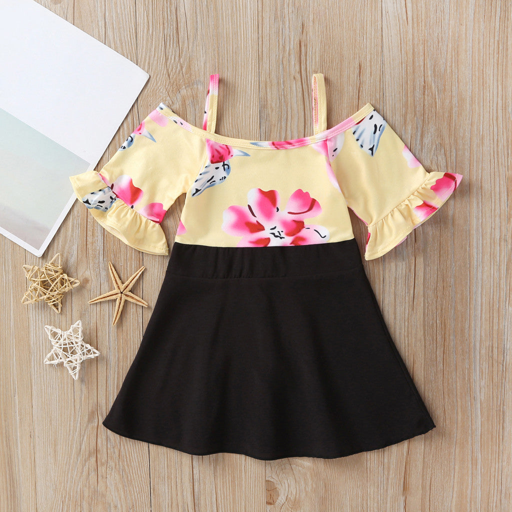 Baby Girl Summer Clothes 2019 Newborn Kids Girls Dress Straps Flower Print Flare Sleeve Princess Dresses 2 3 4 5 6 7 Years