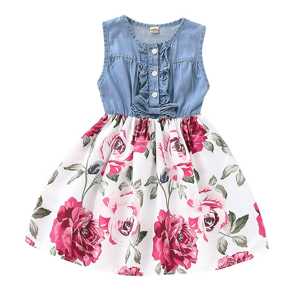 Summer Girls Dress Denim Sleeveless Flower Print Ruffle Party Tutu Kids Dresses For Baby Infant Newborn Girls Clothes 12M-5Y