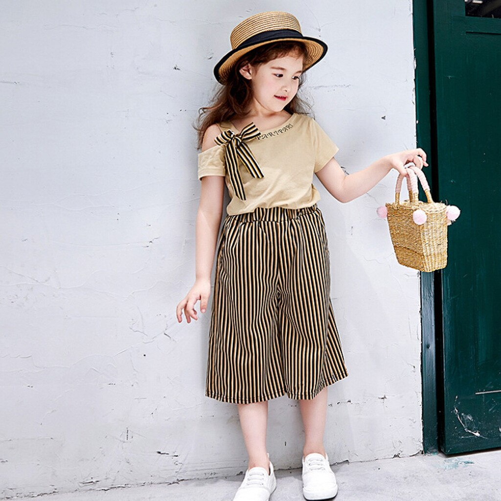 MUQGEW Fashion Toddler Baby Girl Clothes Bowknot Tops Striped Loose Pants Set Ourfits 12M-6Y Vetement Enfant Fille