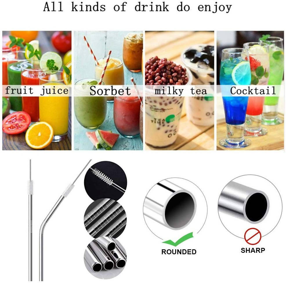 SILVER Reusable Stainless Steel Drinking Straws (2 Bent+2 Straight With 2 Cleaning Brush & Pouch)