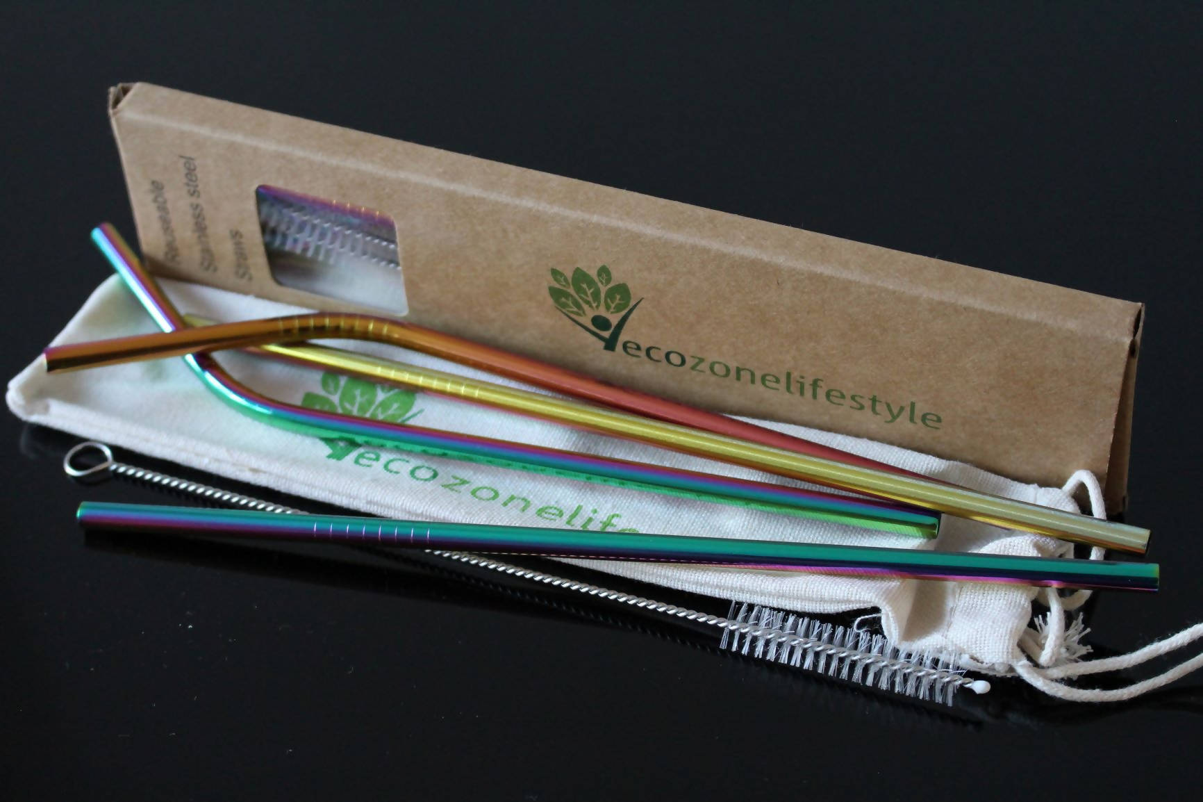 MULTICOLOUR Reusable Stainless Steel Drinking Straws (2 Bent+2 Straight With 2 Cleaning Brush & Pouch)
