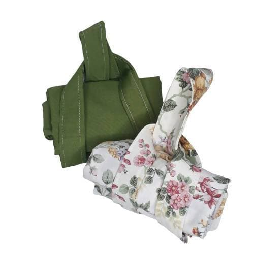 Upcycled Eco Friendly Market Tote Bags (Set of 2) - Green/Floral