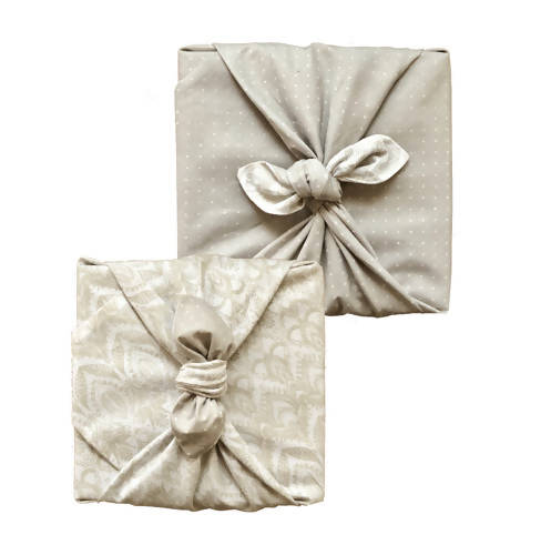 FabRap Reusable Gift Wrap - Dove & Lily Ornament Reversible
