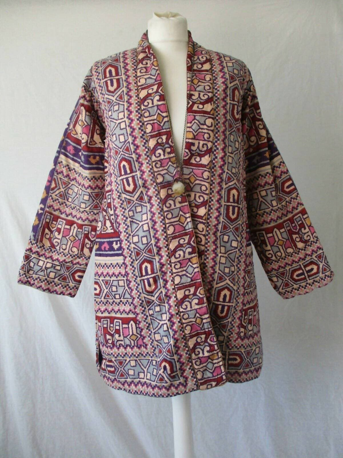 PHOOL Indian Cotton Block Print 1970s 70's Boho Hippie Hippy Quilted Jacket 12