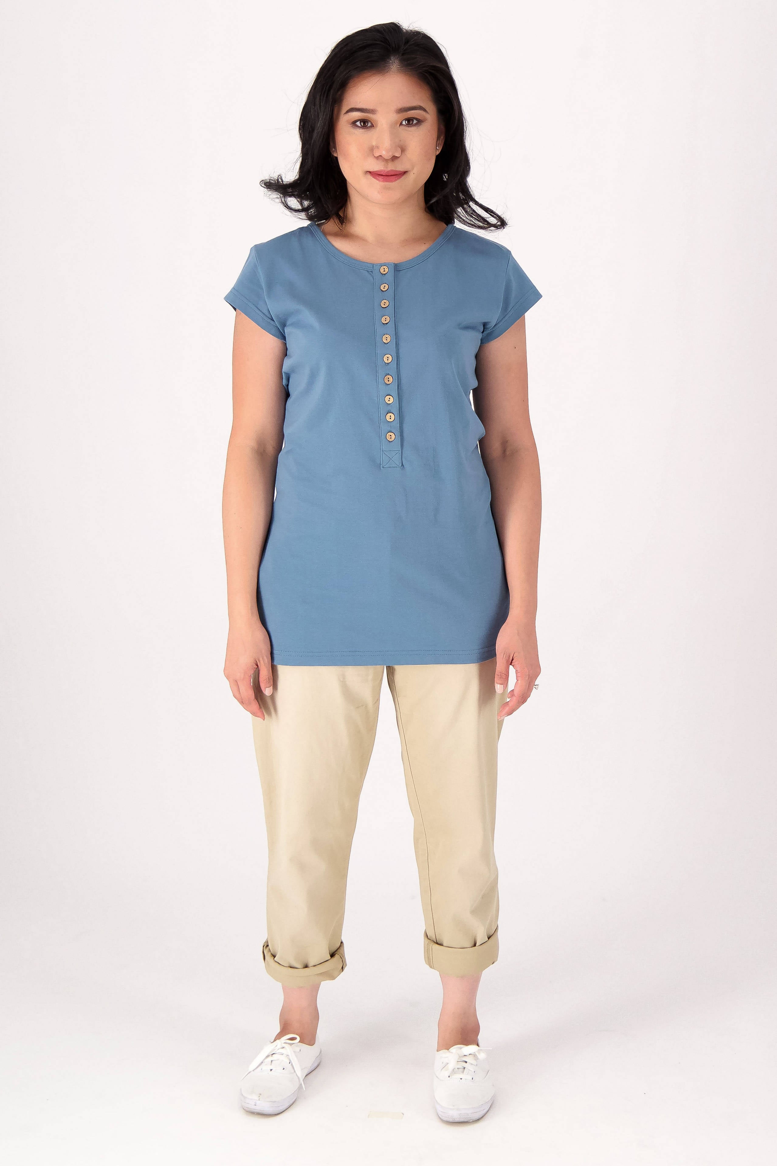 Coconut Button Short Sleeve Henley