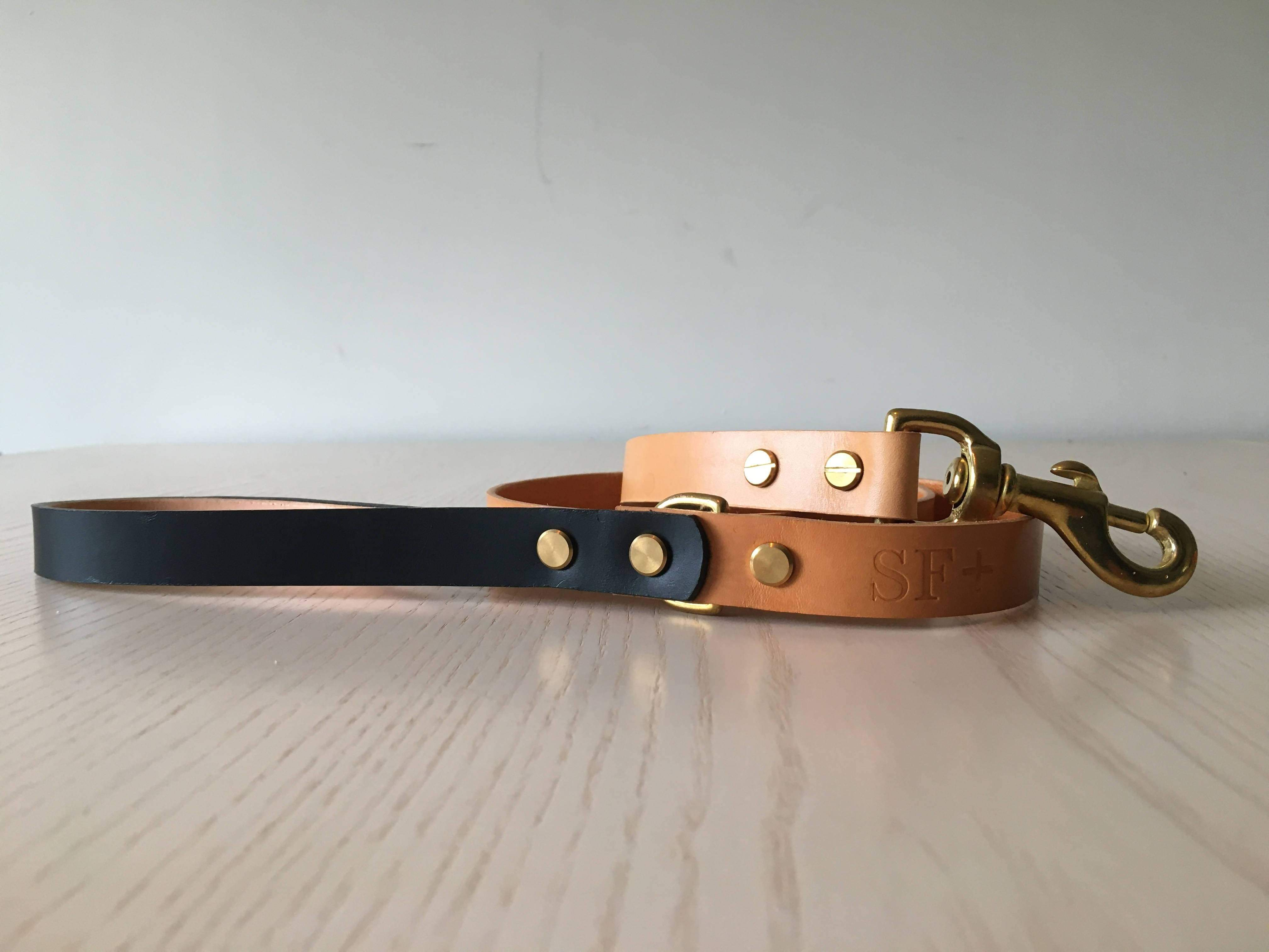 Artisan Dog Lead in Natural/Black
