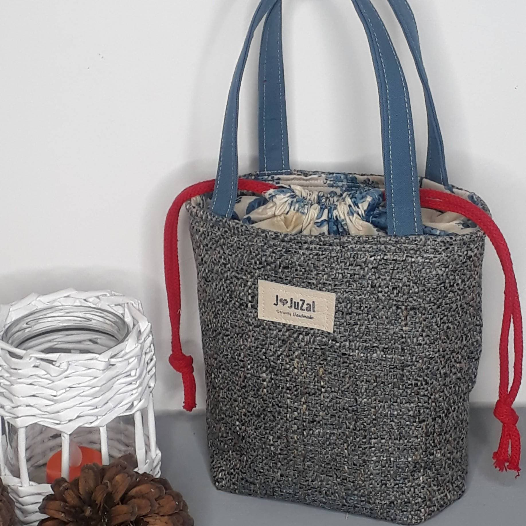 Upcycled Eco Friendly Drawstring Lunch Bag - Blue/Beige/Red