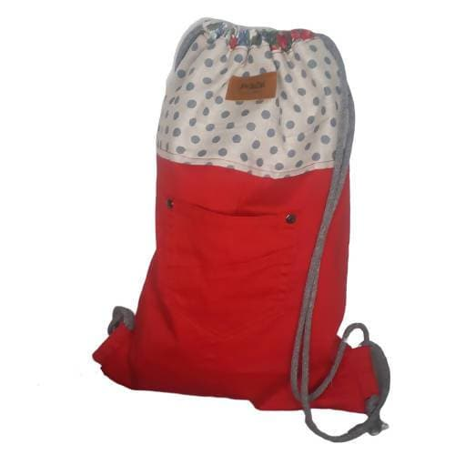 Upcycled Eco Friendly Adult/ Teenager Drawstring Backpack - Red/Grey/Blue