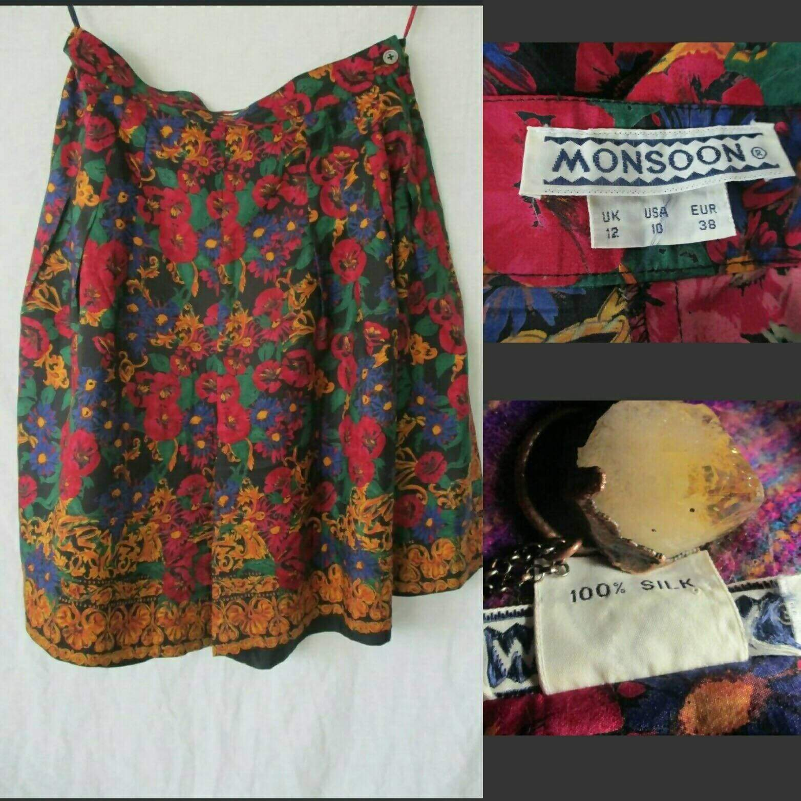 Boho 100% Silk Vintage Monsoon 90s 70s Floral Summer Festival High Waist Culotte Shorts UK 12