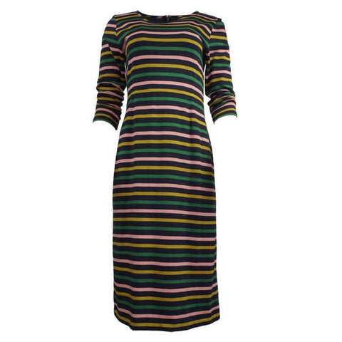 Pre-owned J.Crew Long-sleeved Striped Dress
