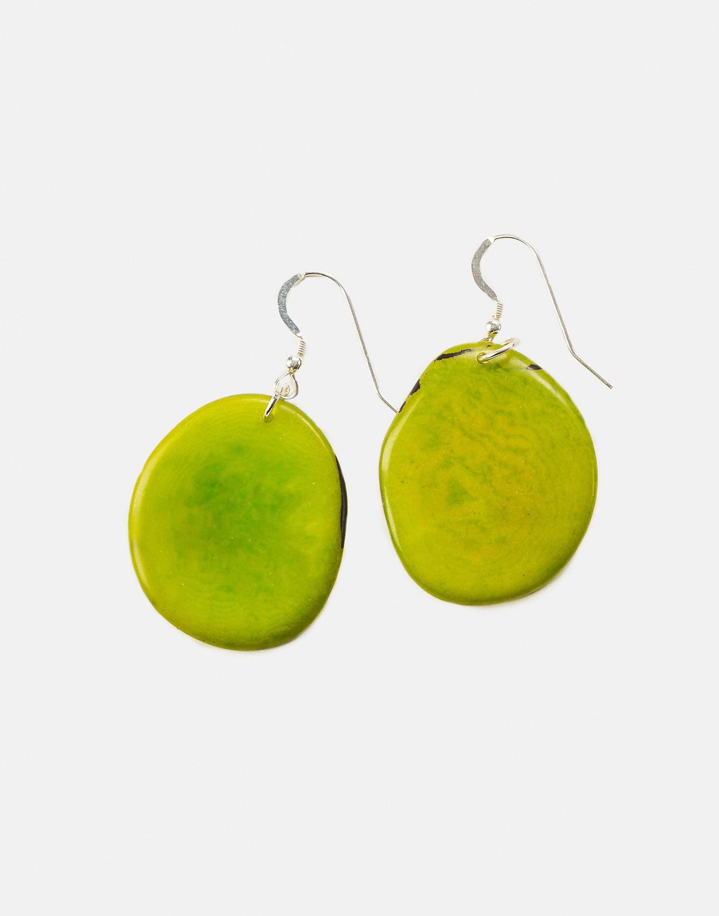 Handmade Tagua Nut Folha Slice Earring with Sterling Silver Hooks