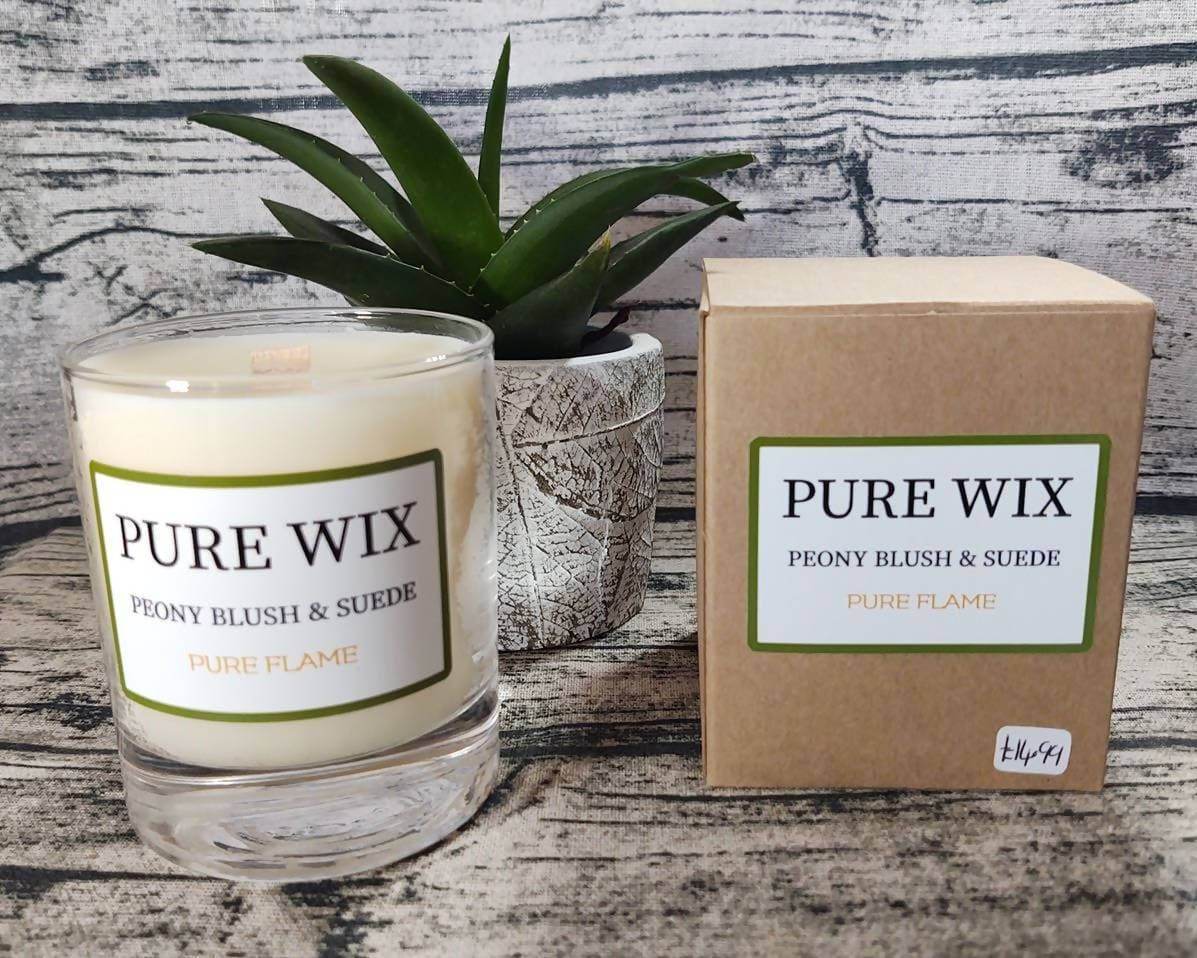 Medium Eco Soy Wax Candle Peony Blush & Suede