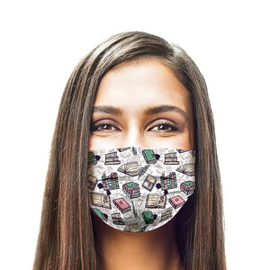 Books Style, Washable and Reusable Microflament Cloth Face Mask