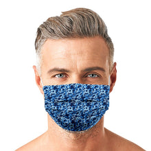 Load image into Gallery viewer, Blue Camouflage Style, Washable and Reusable Microflament Cloth Face Mask