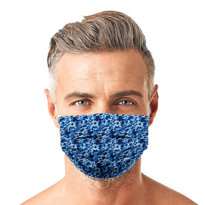 Blue Camouflage Style, Washable and Reusable Microflament Cloth Face Mask