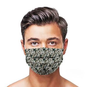 Green Camouflage Style, Washable and Reusable Microflament Cloth Face Mask