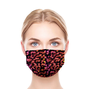 Black Hearts Style, Washable and Reusable Microflament Cloth Face Mask