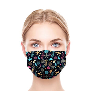 Black Sea Shells Style, Washable and Reusable Microflament Cloth Face Mask