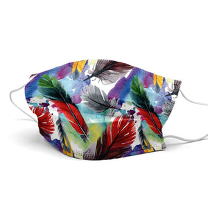 Colorful Feathers Style, Washable and Reusable Microflament Cloth Face Mask