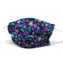 Load image into Gallery viewer, Dark Blue Sea Shells Style, Washable and Reusable Microflament Cloth Face Mask