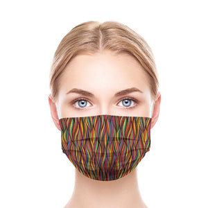 Colorful Lines Style, Washable and Reusable Microflament Cloth Face Mask