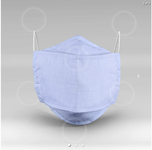 Circles Light Blue Jean Design Washable Cloth Mask With Pockets For Melt Blown Filters