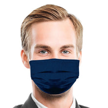 Load image into Gallery viewer, Navy Blue Linen Style, Washable and Reusable Microflament Cloth Face Mask