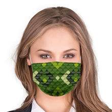 Load image into Gallery viewer, Green Flakes Style, Washable and Reusable Microflament Cloth Face Mask