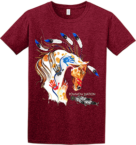 Gathering of Nations 5 Feathers Maroon T-Shirt