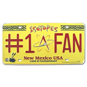 Isotopes #1 Fan License Plate