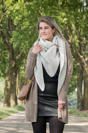 Knit Factory - Omslagdoek Demy Beige